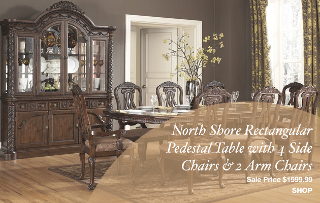 North Shore Rectangular Pedestal Table with 4 Side Chairs & 2 Arm Chairs